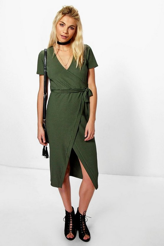 Sonya Rib Wrap Midi Dress