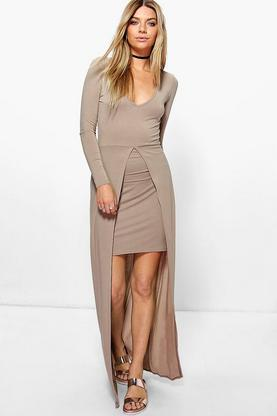 Tasha Wrap Front Skirted Maxi Dress