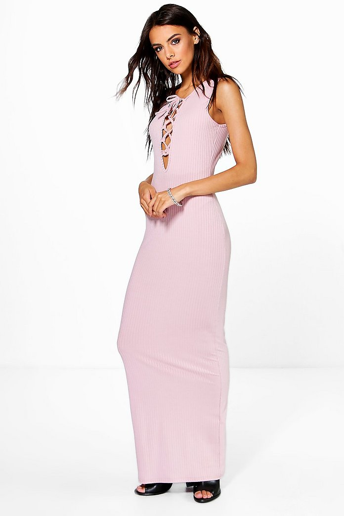 Pamela Lace Up Front Ribbed Maxi Dress