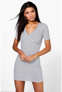 Katy Neppy Cap Sleeve Wrap Bodycon Dress
