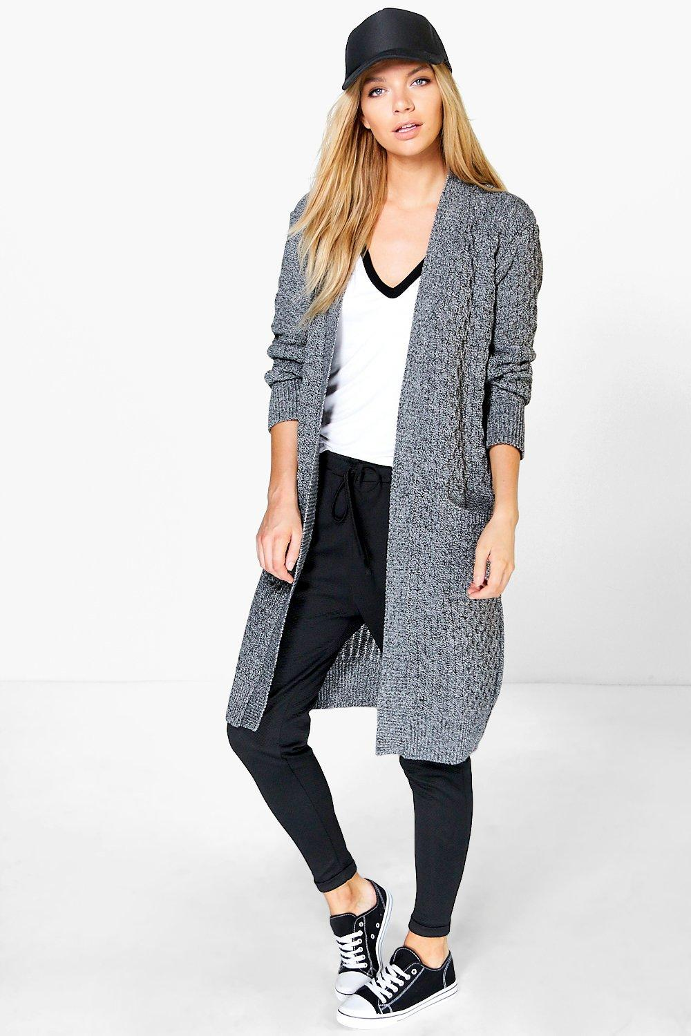 Leah Long Cable Cardigan With Pockets
