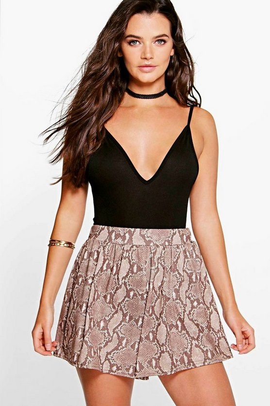 Elenor Snake Print Flippy Shorts