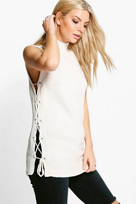 Lacey Eyelet Lace Up Knit Tunic
