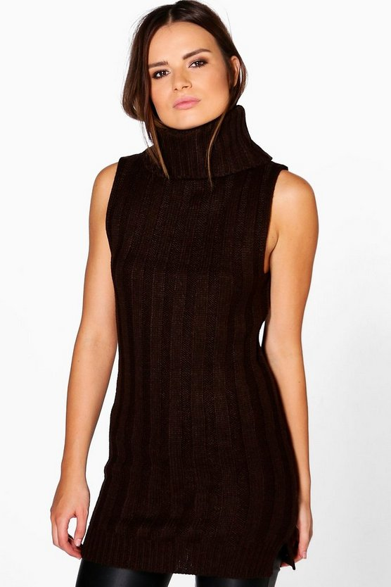 Freya Chunky Roll Neck Rib Knit Tunic