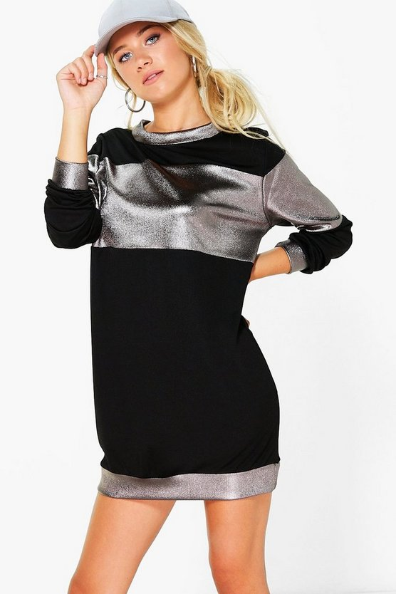 Monica Metallic Stripe Sweat Dress