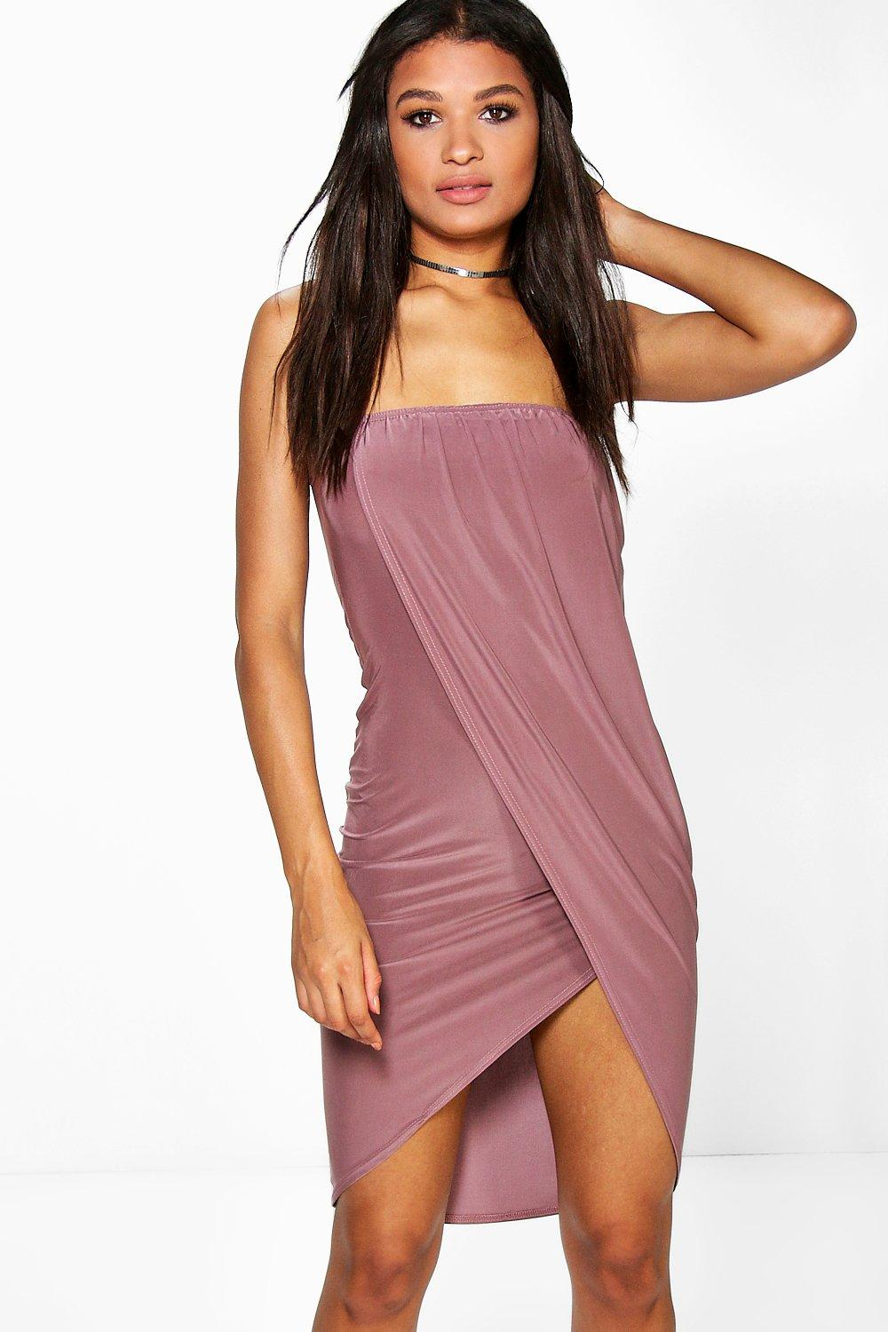 Jenna Bandeau Slinky Draped Midi Dress