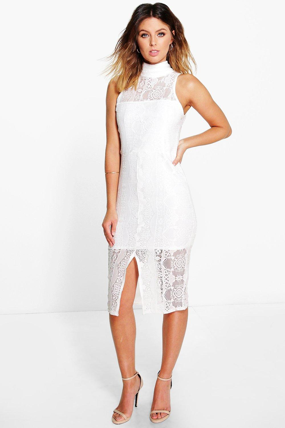 Raquel Lace High Neck Front Split Midi Dress