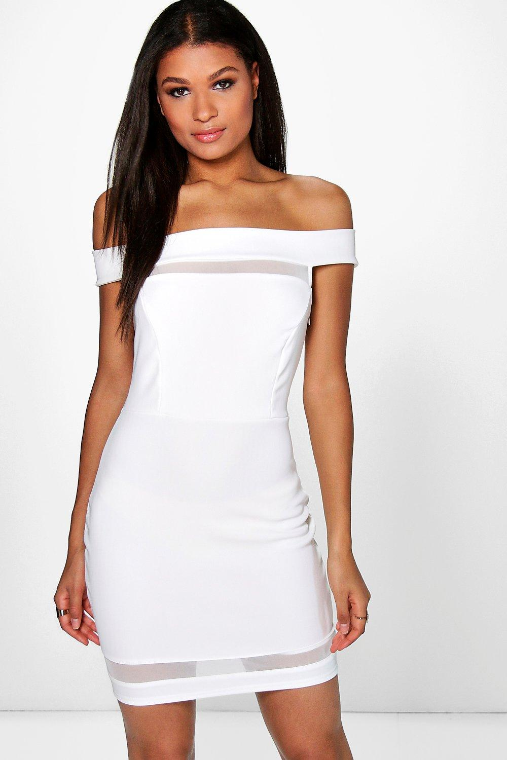 Kat Mesh Insert Off Shoulder Bodycon Dress