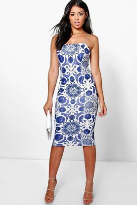 Whitney Floral Printed Square Neck Midi Dress