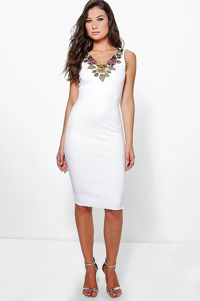 Rosa Flower Applique Bodycon Dress