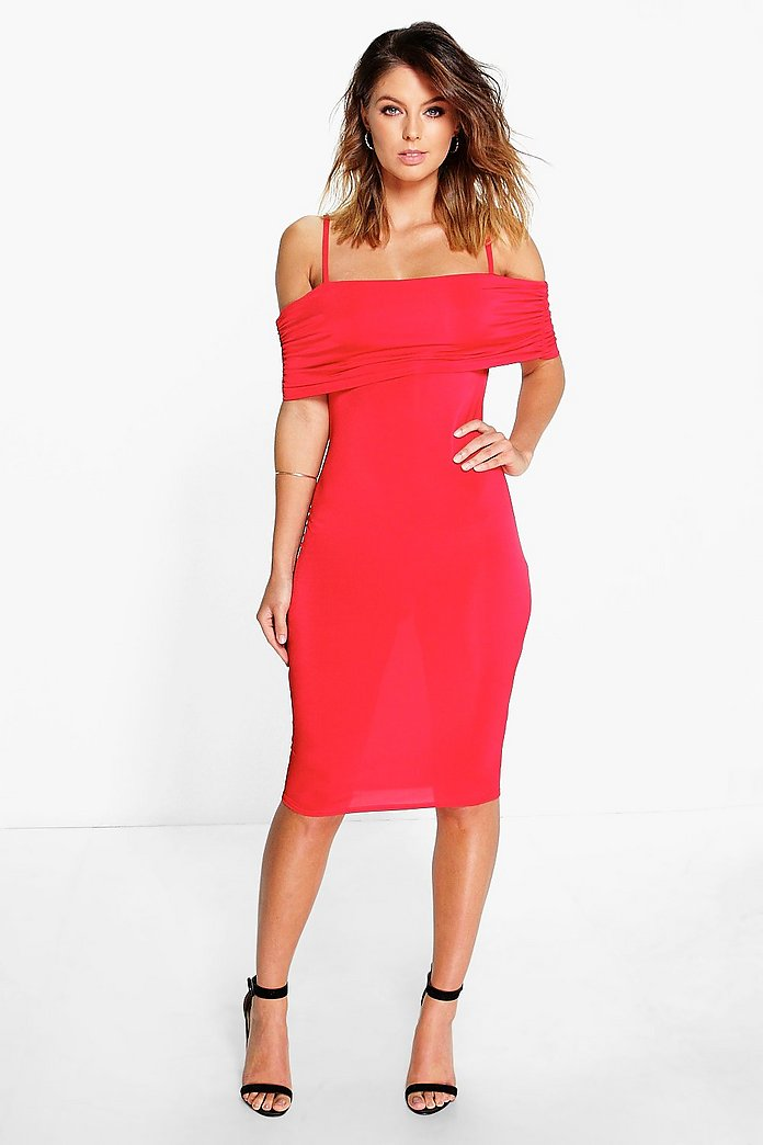 Maisie Rouched Off Shoulder Slinky Midi Dress