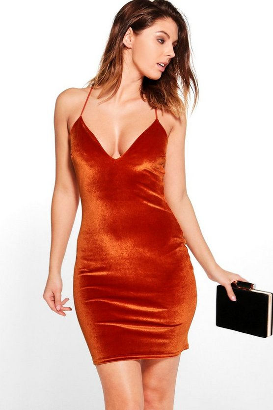 Karrueche Velvet Strappy Bodycon Dress