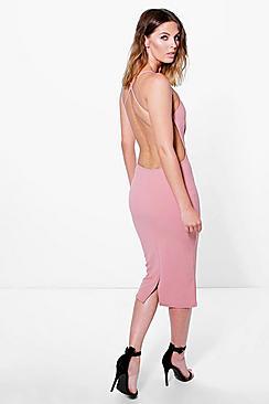 Pia Crepe Strappy Open Back Detail Midi Dress