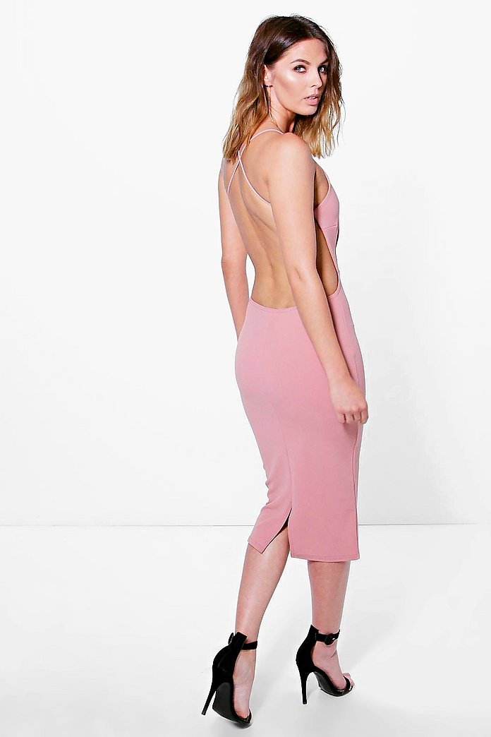Pia Crepe Strappy Open Back Detail Midi Dress