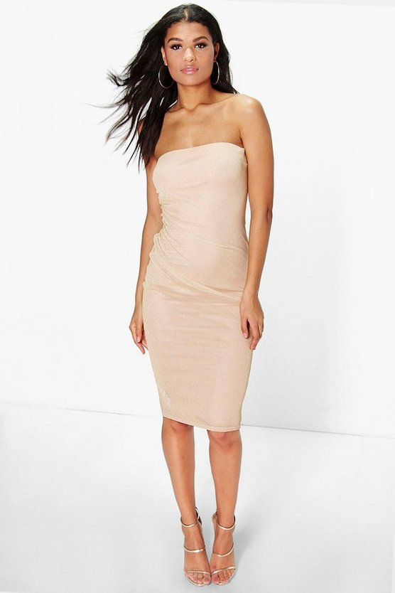 Maisy Metalic Bandeau Midi Bodycon Dress