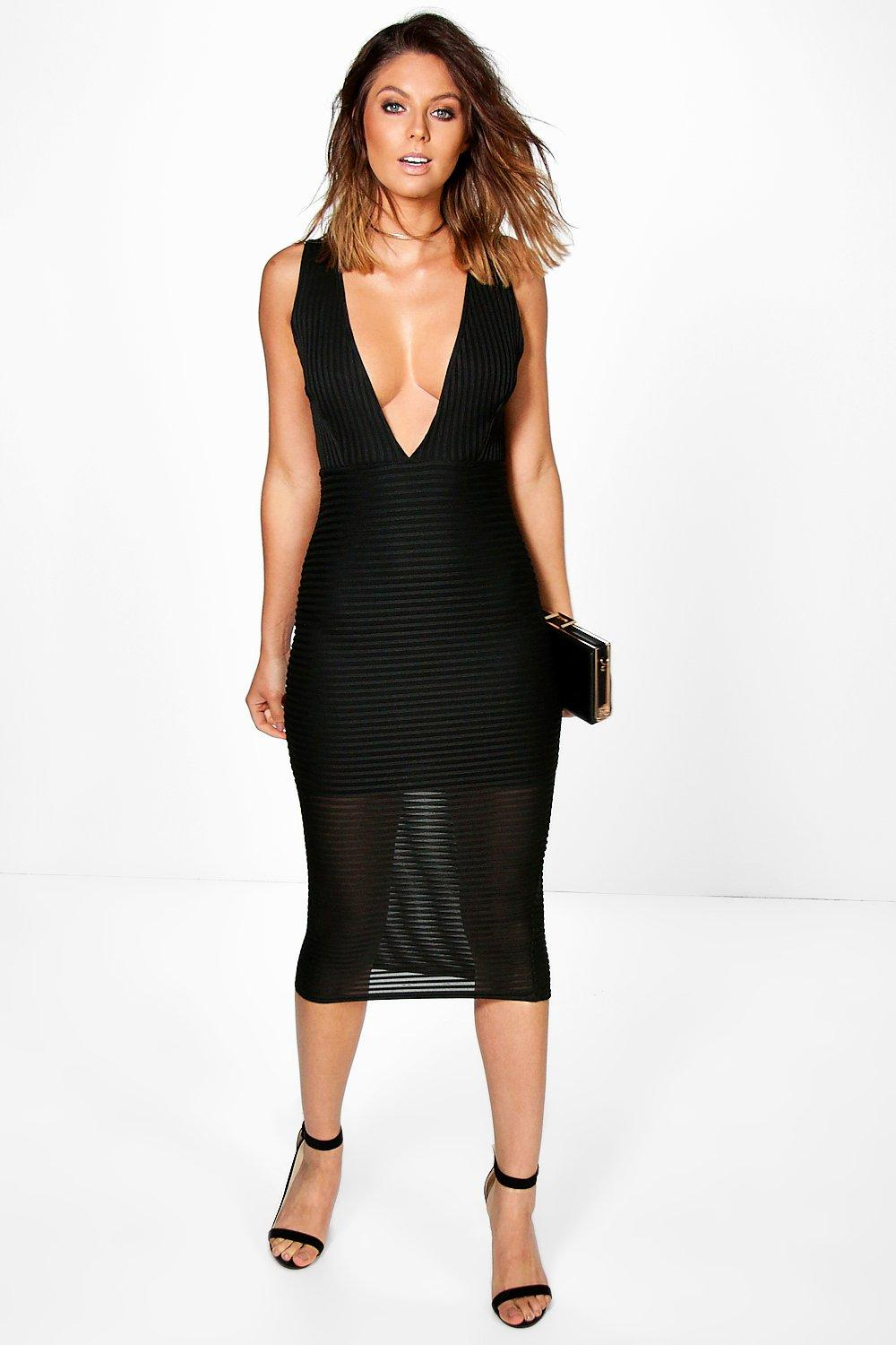 Miranda Mesh Stripe Plunge Midi Dress