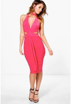 Georgina Plunge Neck Band Slinky Midi Dress