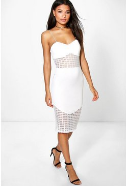 Grace Grid Mesh Insert Midi Dress