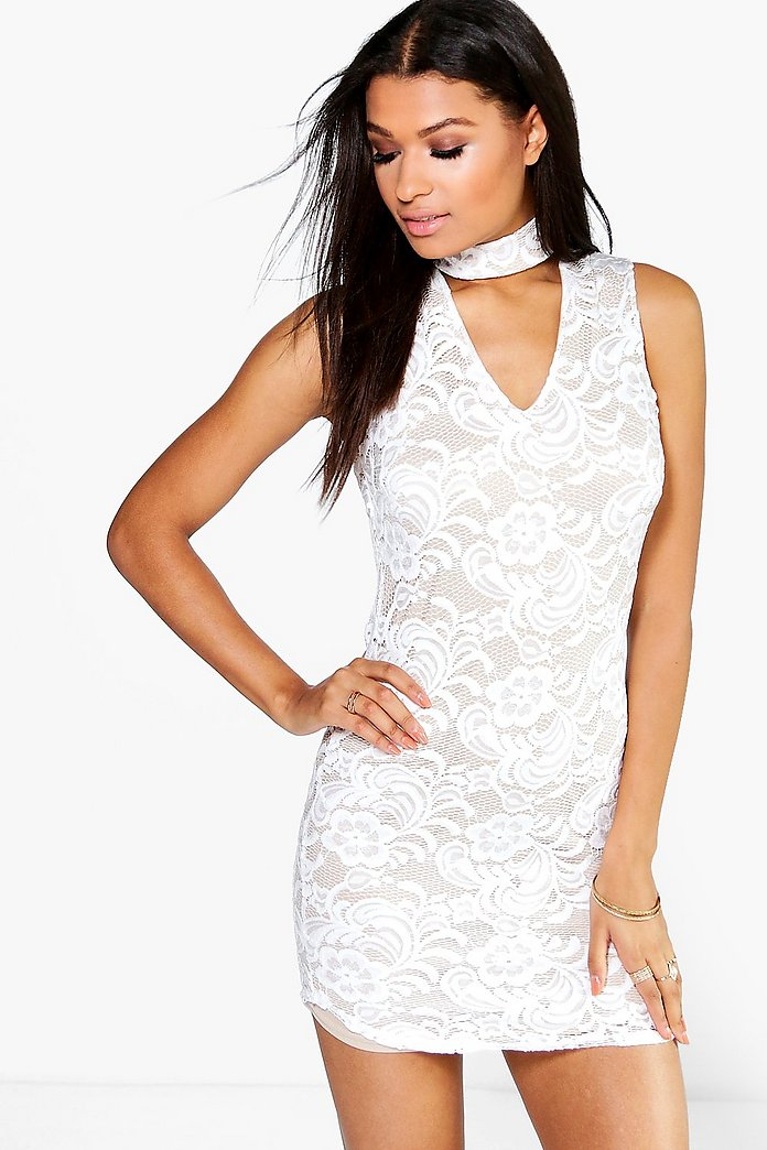 Lorna Lace Neck Band Bodycon Dress