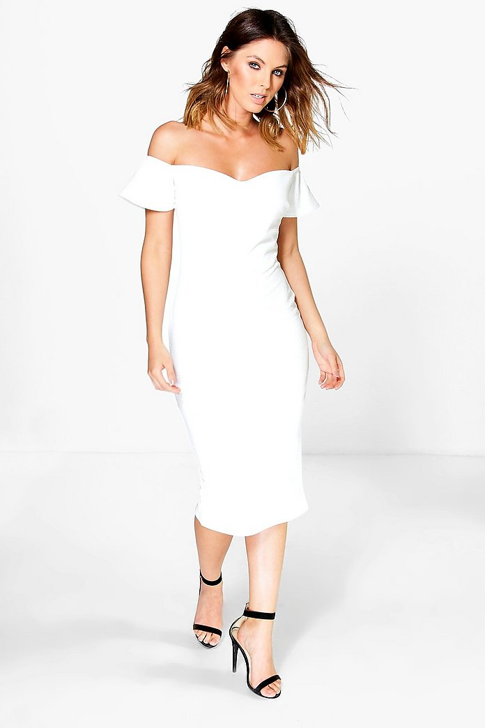 Mia Sweetheart Neck Off Shoulder Midi Dress