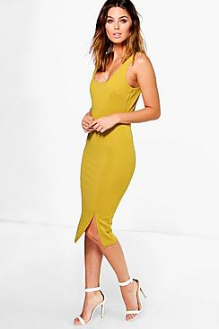 Dani Ribbed Square Neck Bodycon Midi Dress