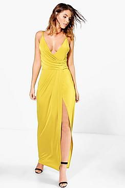 Ria Draped Wrap Thigh Split Maxi Dress