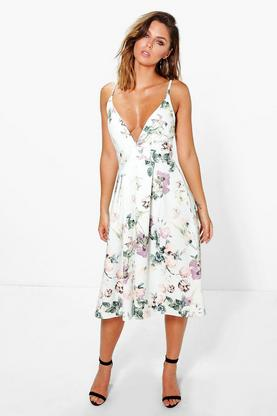 Hazel Floral Plunge Neck Midi Skater Dress