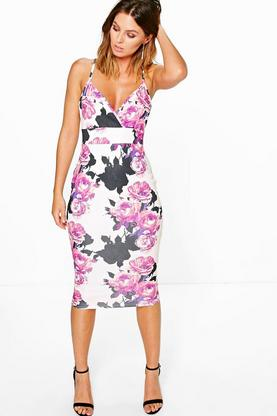 Beth Floral Plunge Neck Midi Dress