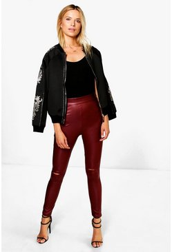 Kaira Highwaist Leather Look Split Knee Leggings
