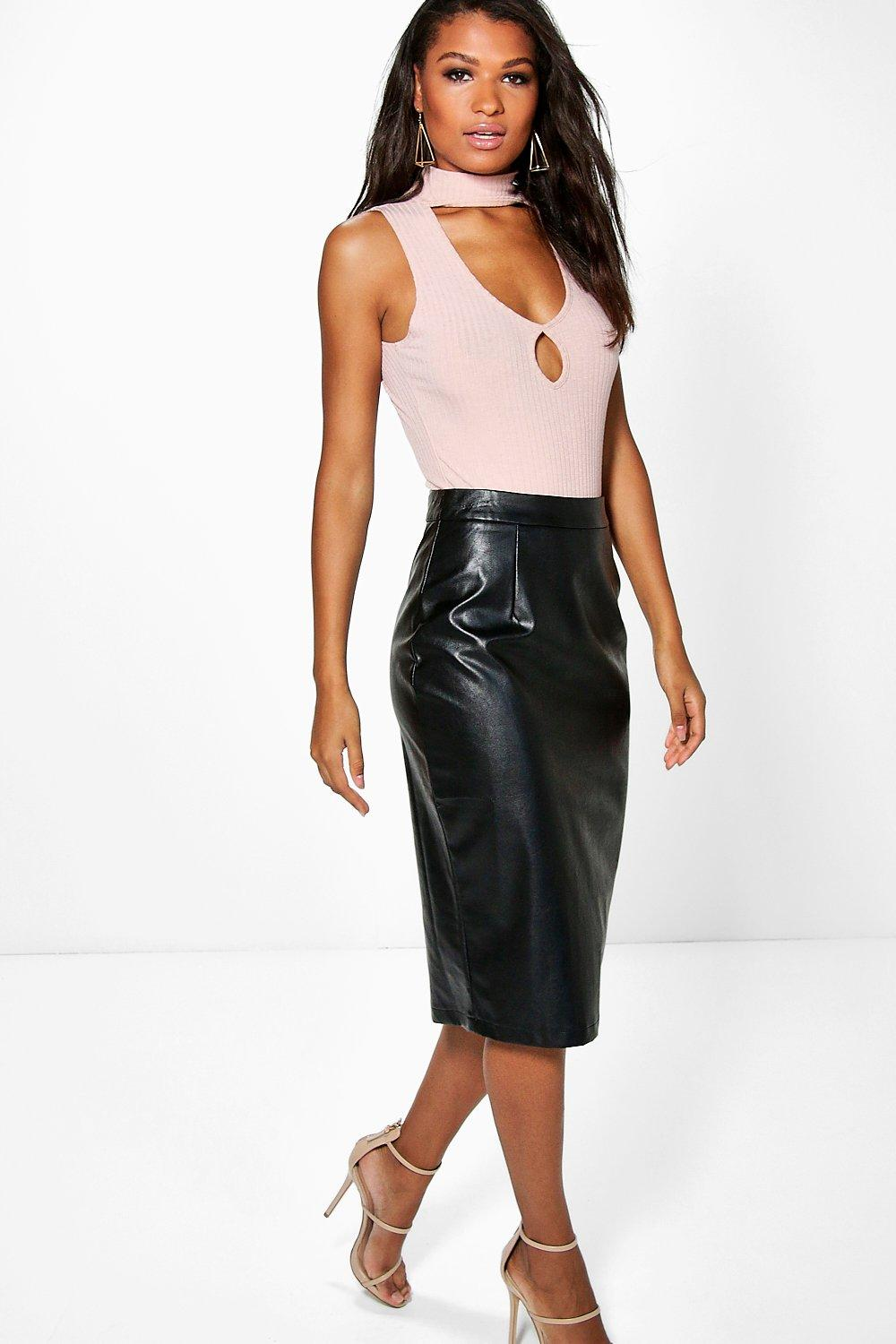 Bahati Leather Look Pencil Midi Skirt