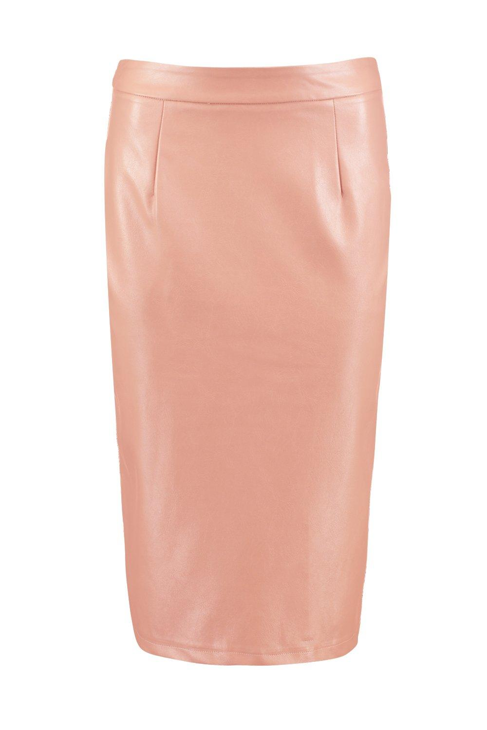 boohoo womens bahati leather look pencil midi skirt ebay