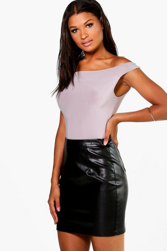 Iman Woven A Line Leather Look Mini Skirt