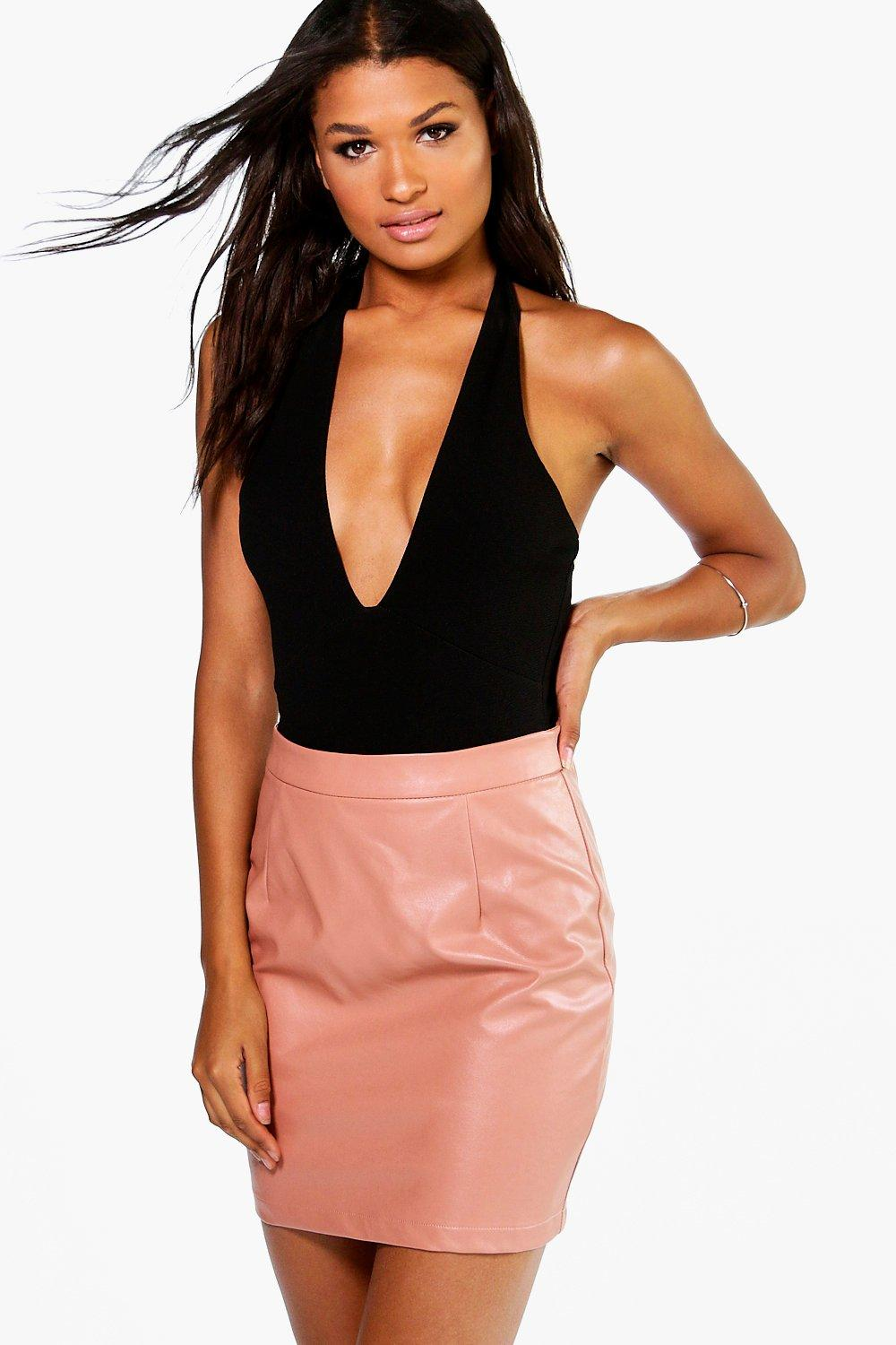Iman A-Line Leather Look Mini Skirt