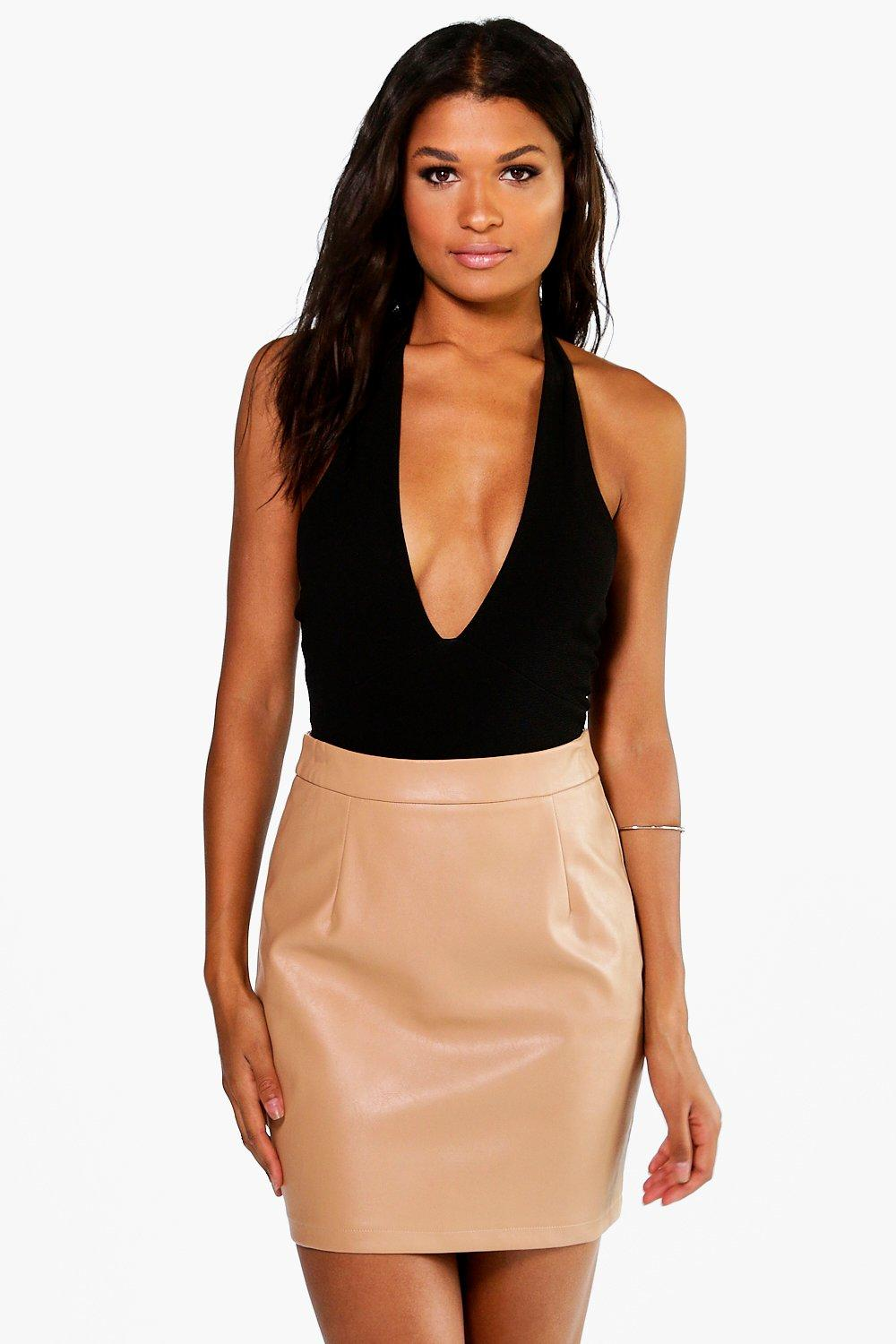 Woven A Line Leather Look Mini Skirt  sand