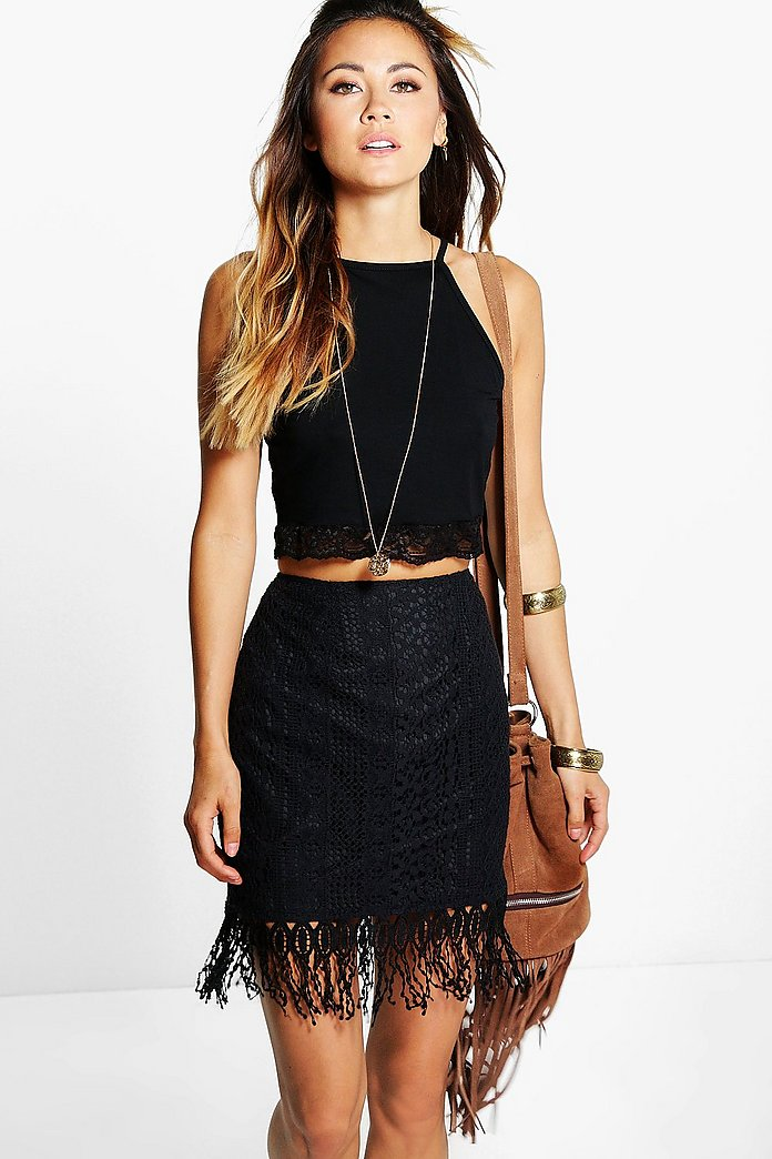 Minerva Crochet Lace Tassle Trim Mini Skirt