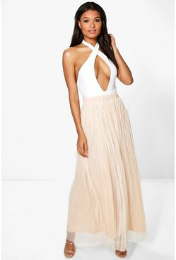 Indira Boutique Pleated Tulle Maxi Skirt
