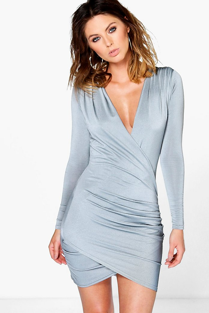 Ari Slinky Long Sleeved Wrap Bodycon Dress