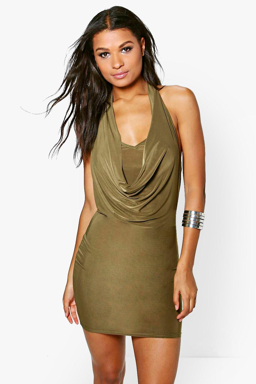 Serena Slinky Cowl Halterneck Bodycon Dress