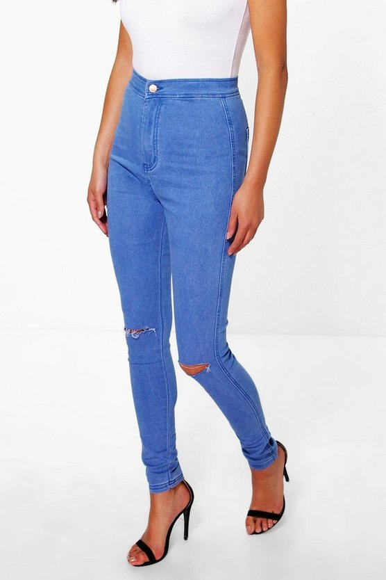 High Rise Blue Knee Rip Jeans