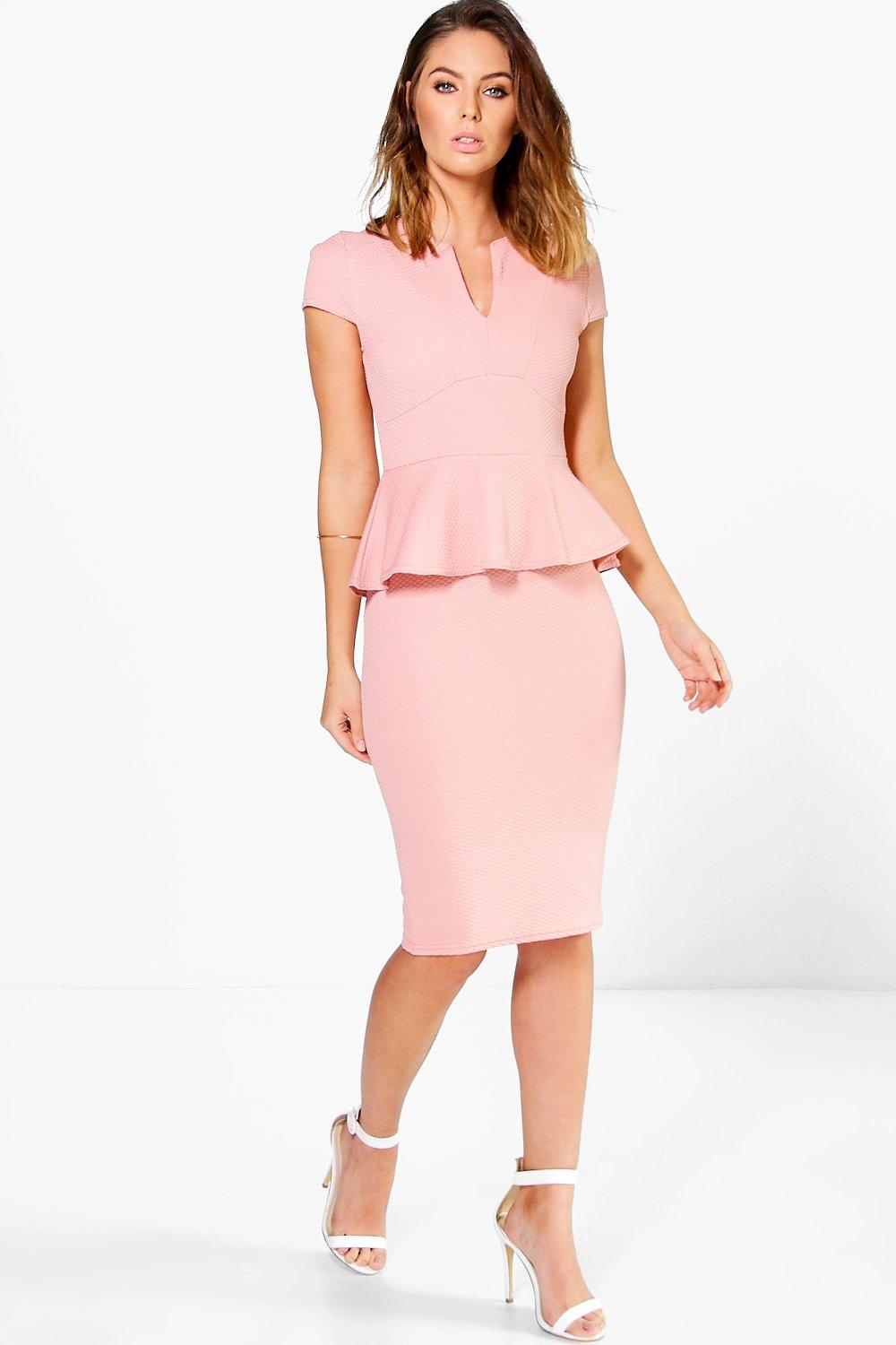 Hannah Textured Cap Sleeve Peplum Dress