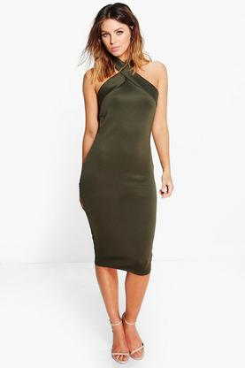 Veena Wrap Neck Midi Dress