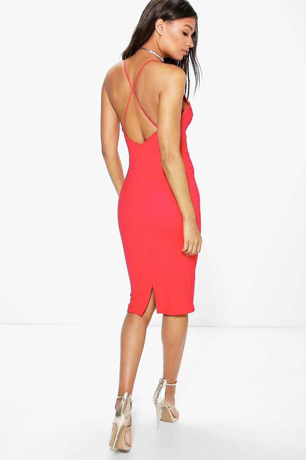 Cora Trim Detail Cross Back Strap Midi Dress
