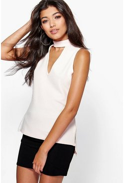 Elisa Cut Out High Neck Sleeveless Top