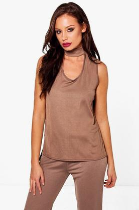Elisa Round Cut Out Choker Sleeveless Top