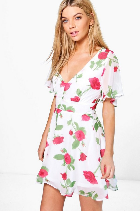 Hermia Rose Print Plunge Neck Skater Dress