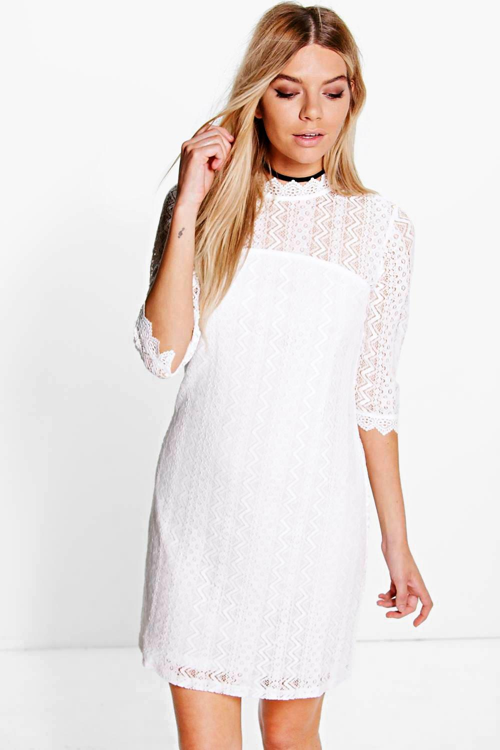 Titania Lace High Neck Shift Dress