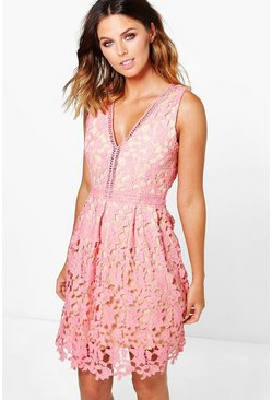 Boutique Aiko Lace Ladder Trim Skater Dress
