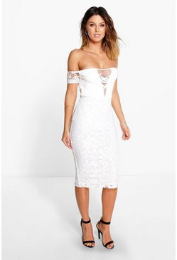 Boutique Em Off Shoulder Lace Midi Dress