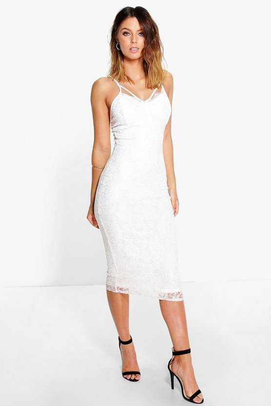 Jayne Strappy Lace Bust Midi Dress