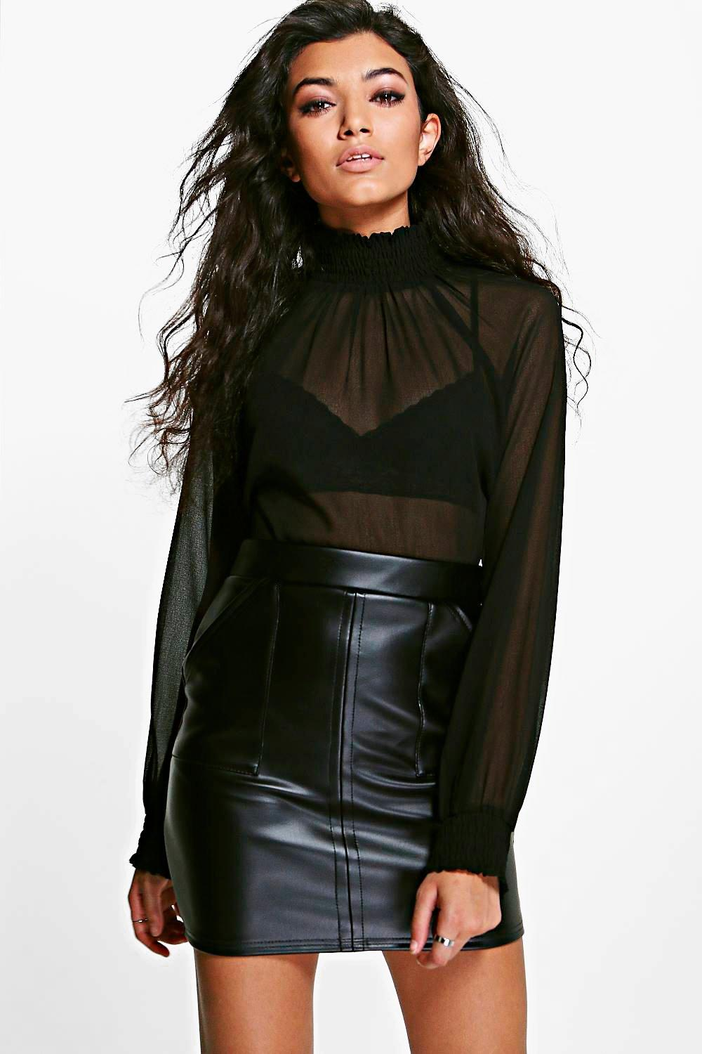 High Neck Sheer Blouse black